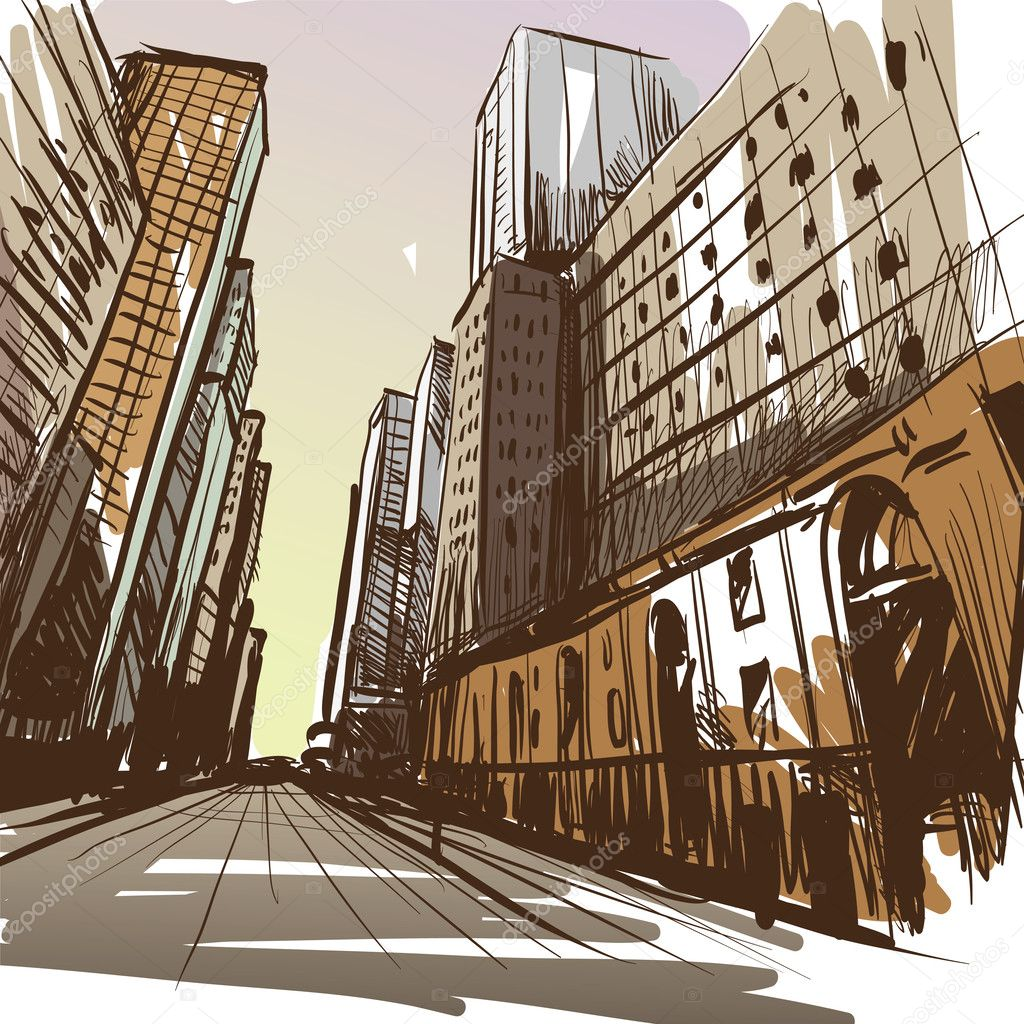 City hand drawn. Vector illustration