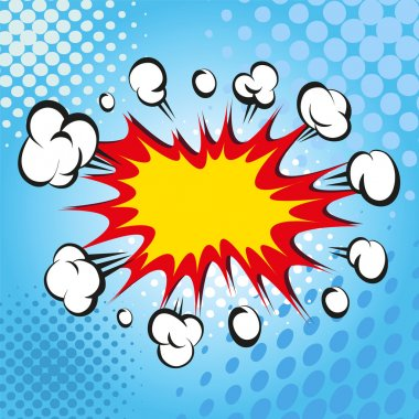 Boom. Comic book explosion, vector background