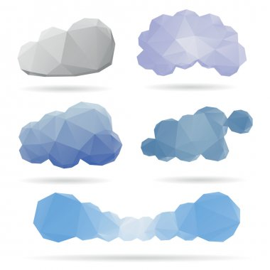 Set of abstract clouds isolated on a white backgrounds