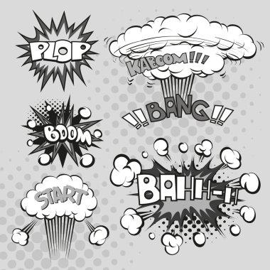 Boom. Comic book explosion elements set