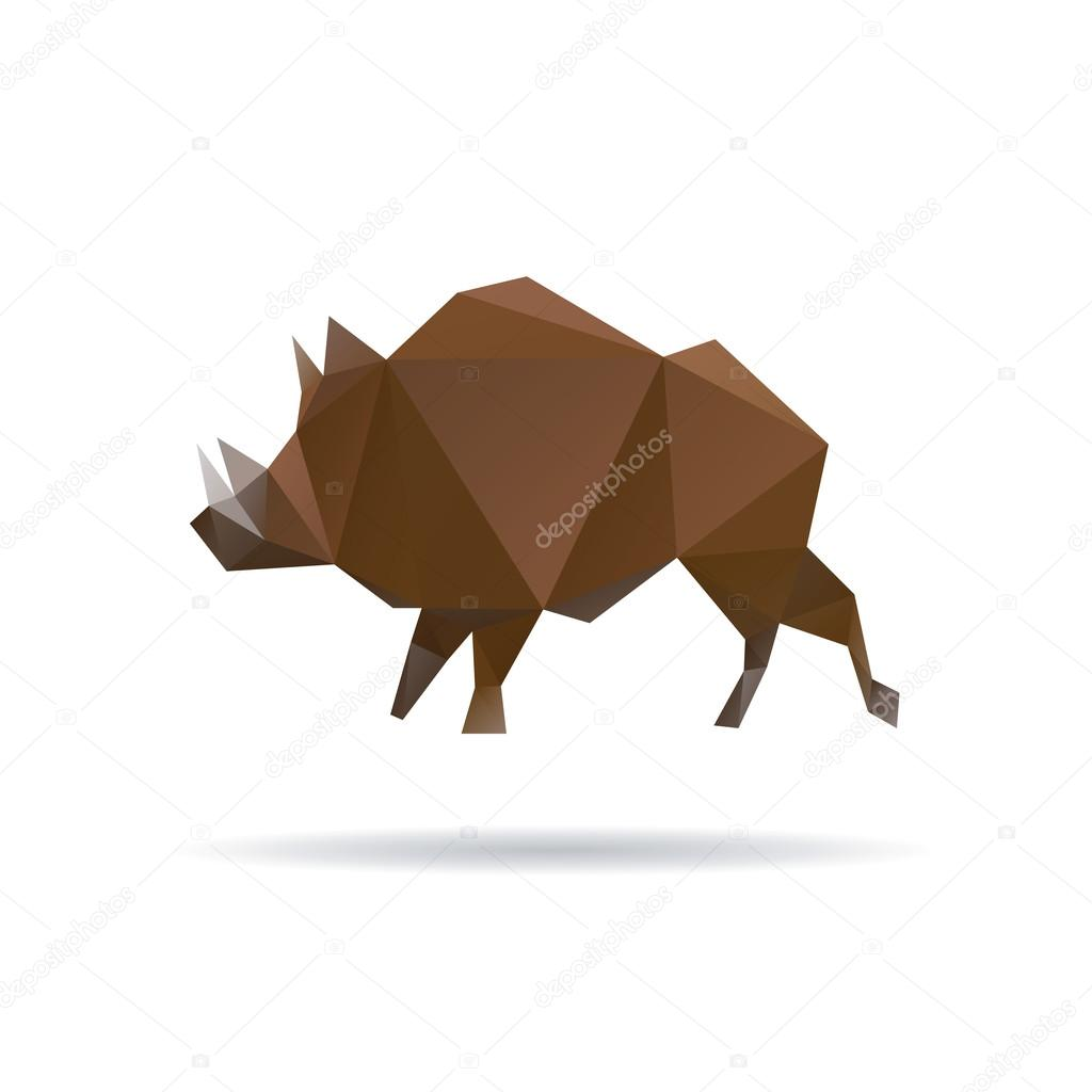 Wild boar abstract isolatedon a white backgrounds