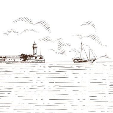 Hand drawn sea bay. Vector illustration