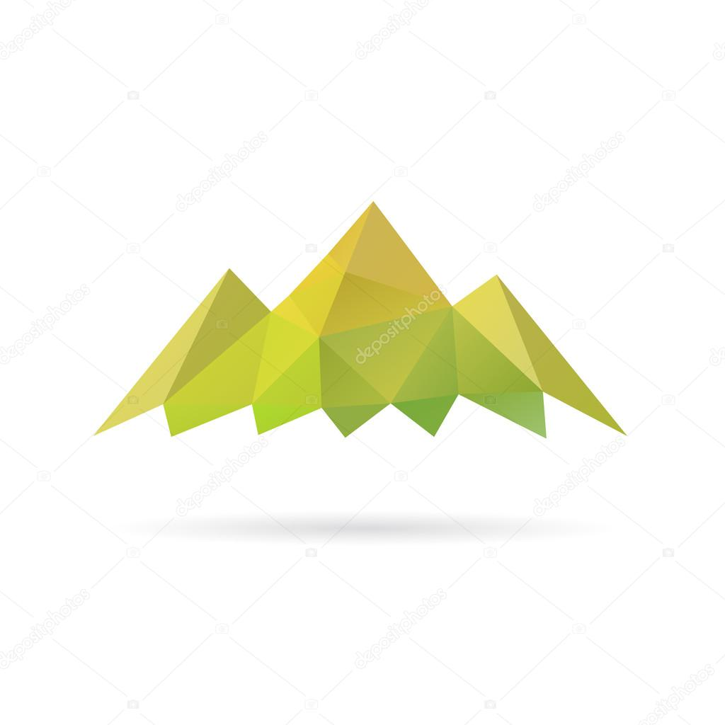 Green mountain abstract isolated on a white backgrounds