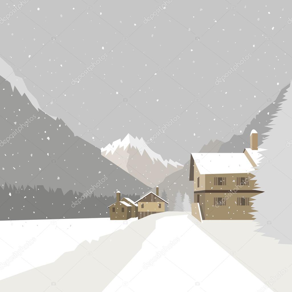Winter mountain village background, vector illustration