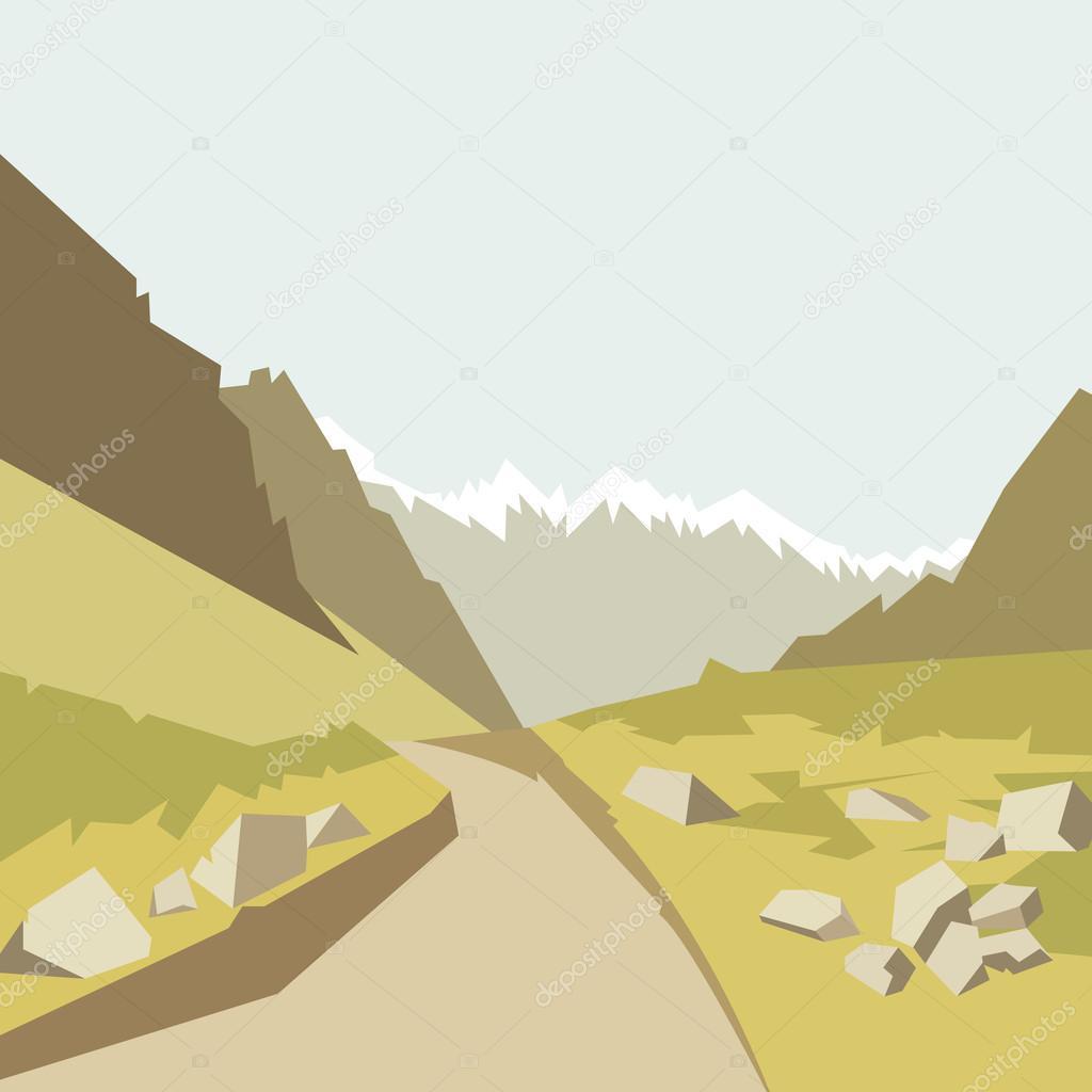 Summer mountains landscape. Vector illustration