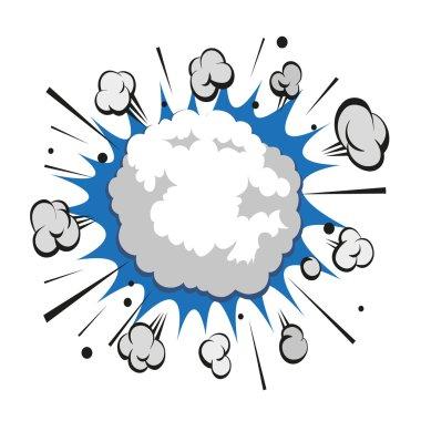 Boom comic book explosion snowball, vector illustration
