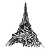 Fotografie Hand drawn Eiffel Tower. Paris, vector illustration