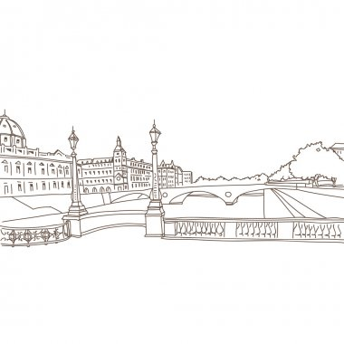 Hand drawn Paris, vector illustration