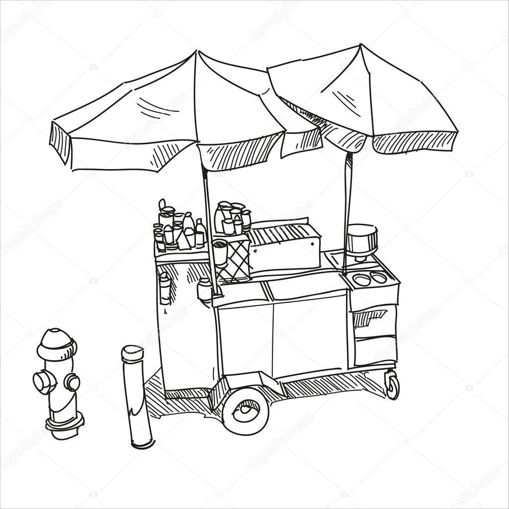 Street Food. Hot Dog Stand Hand Drawn Vector Illustration U2014 Stock Vector U00a9 Roman84 #43369183