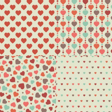 Four seamless pattern of hearts. Vector set, EPS 8. clip art vector