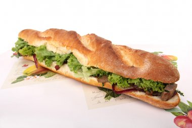 Sandwich on a white wooden tray