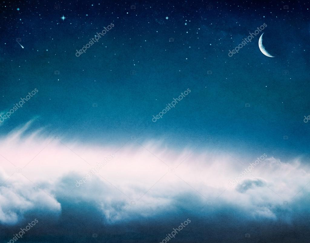 Glowing Clouds and Moon