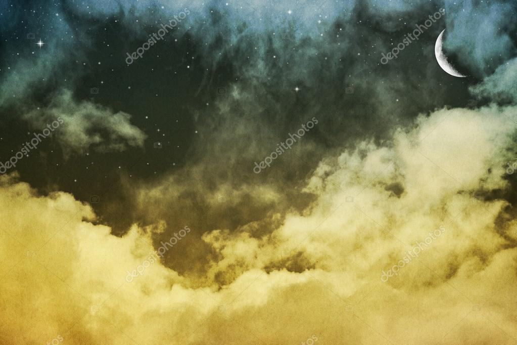 Clouds, Moon and Stars