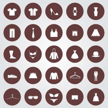 Set of 25 Clothes icons in the brown circles. stock vector