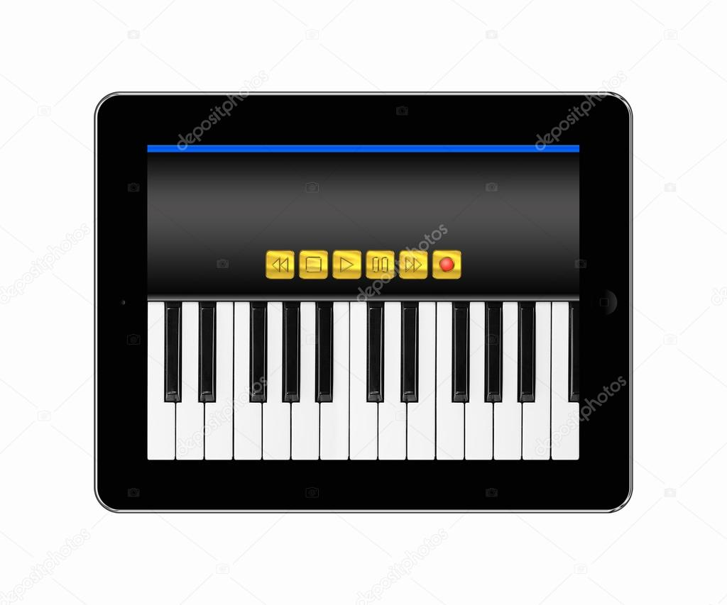 Tablets pc with music keyboard — Stock Photo © alexandr55 #19226851