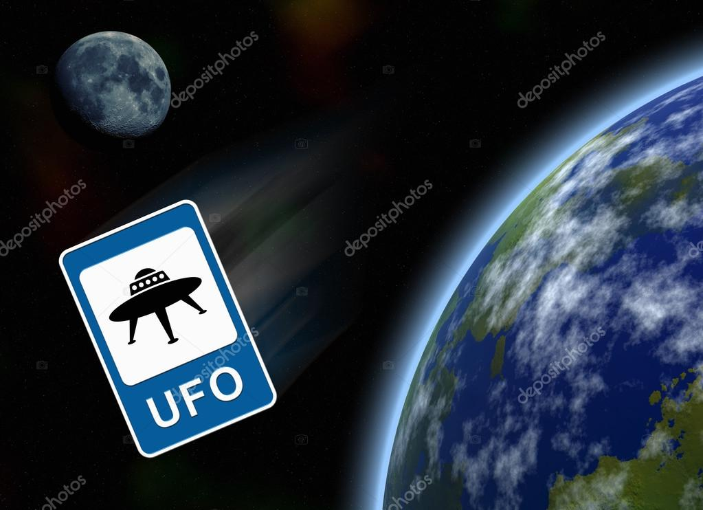 planets and sgn ufo on background starry sky stock photo