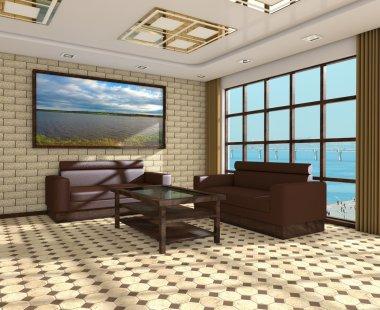 Interior of modern room 3d
