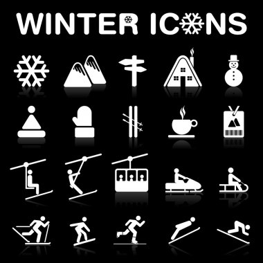 Winter Icons Set (Negative) - VECTOR eps8.