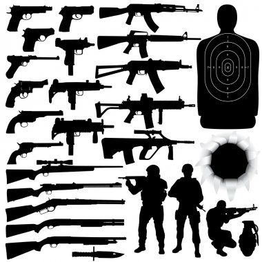 Vector silhouettes of various weapons