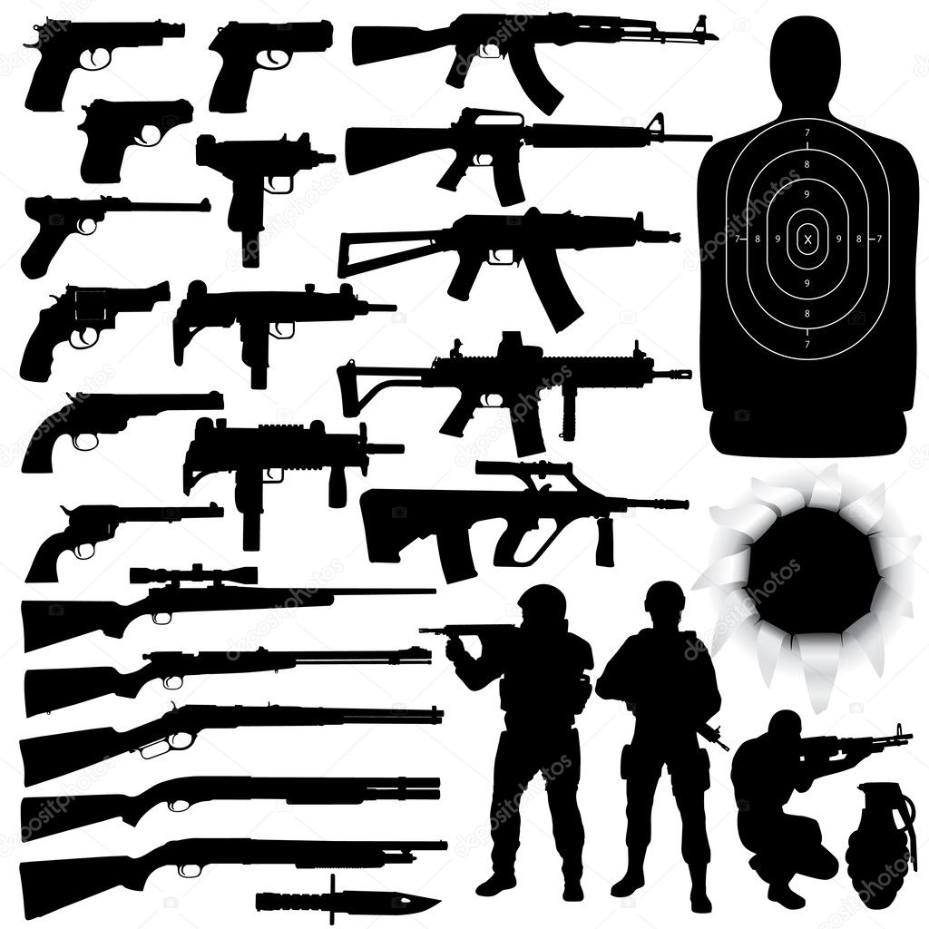 Vector silhouettes of various weapons (High detail) stock vector