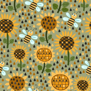 Seamless pattern with sunflowers and bees