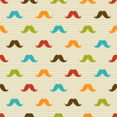 Seamless pattern of colored mustache on striped background