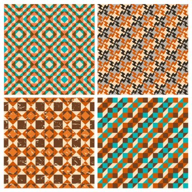 Set of seamless geometric retro patterns