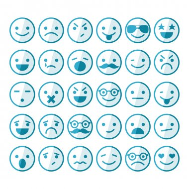 Set of smileys in different emotions and moods