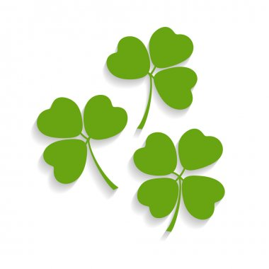 Illustration of shamrocks and the four leaf clover with shadow isolated on background