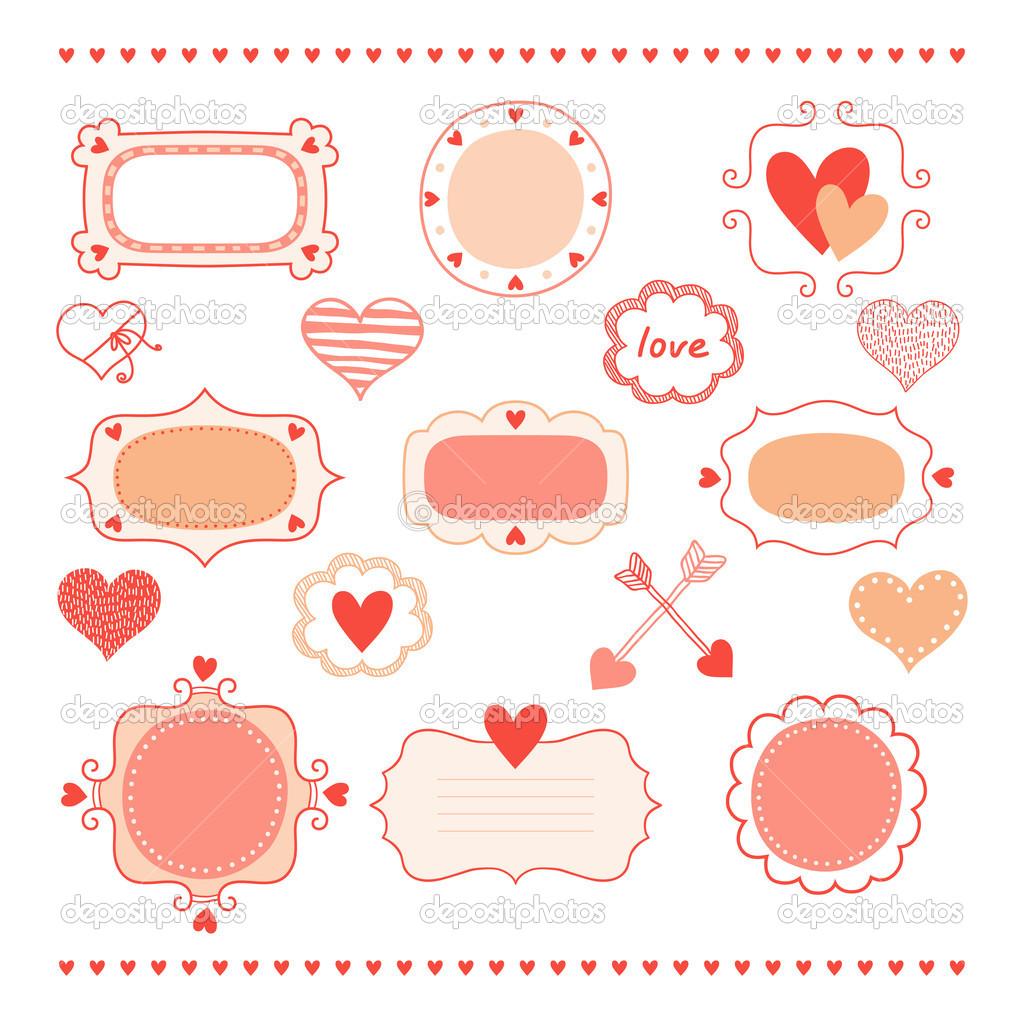 Set románticos Marcos y corazones — Vector de stock © lilipom #36717819
