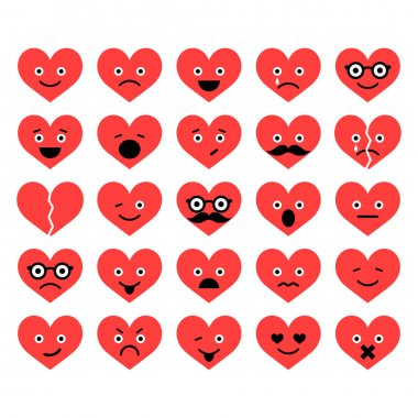Set of Valentine hearts smiles in different emotions