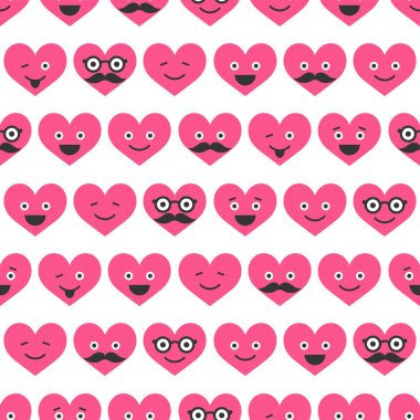 Seamless pattern with Valentine hearts smiles