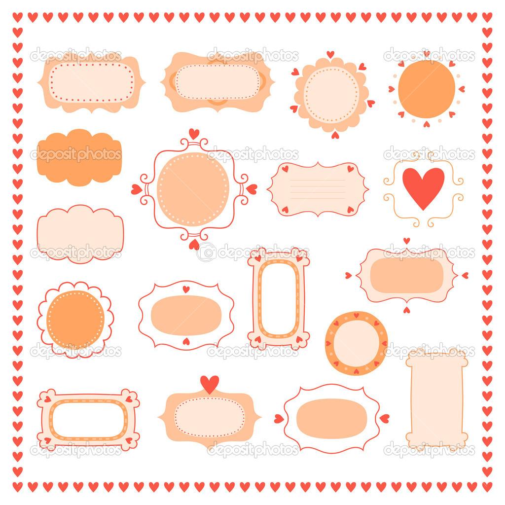 establecer marcos románticos — Archivo Imágenes Vectoriales ...