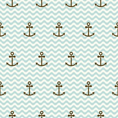 Seamless sea pattern of anchors and waves