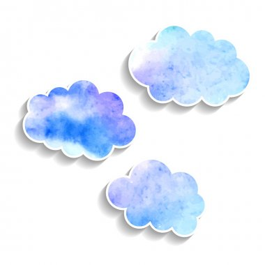 Set watercolor clouds isolated on white background