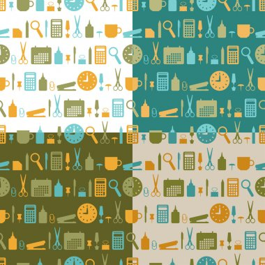 Set of seamless patterns of office stationery icons