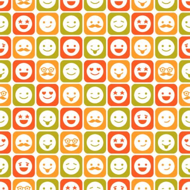 Seamless pattern of color smile, different emotions