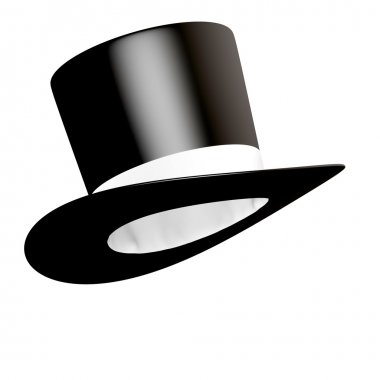 Big black cylinder hat with white ribbon isolated