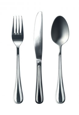 Fork knife and spoon on white background