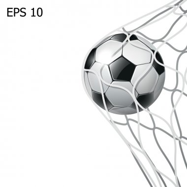 Isolated soccer ball in the goal net