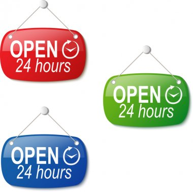open 24 hours signs in red green and blue on white