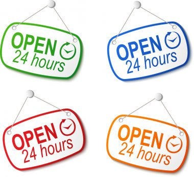 open 24 hours signs on white
