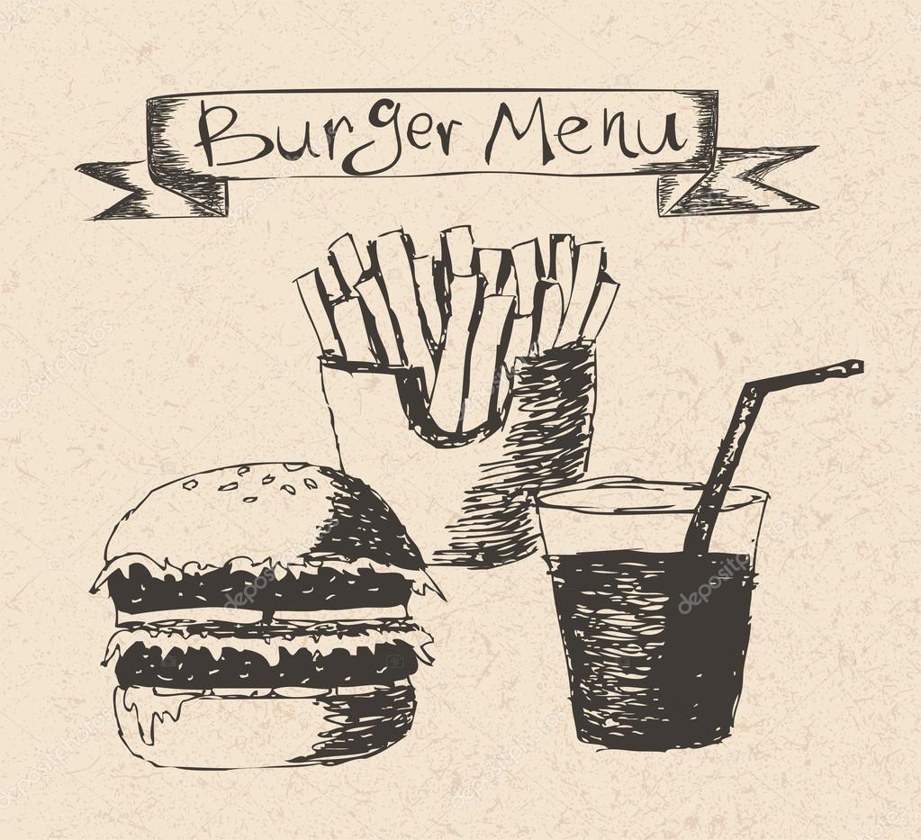 Burger menu hand drawn illustration