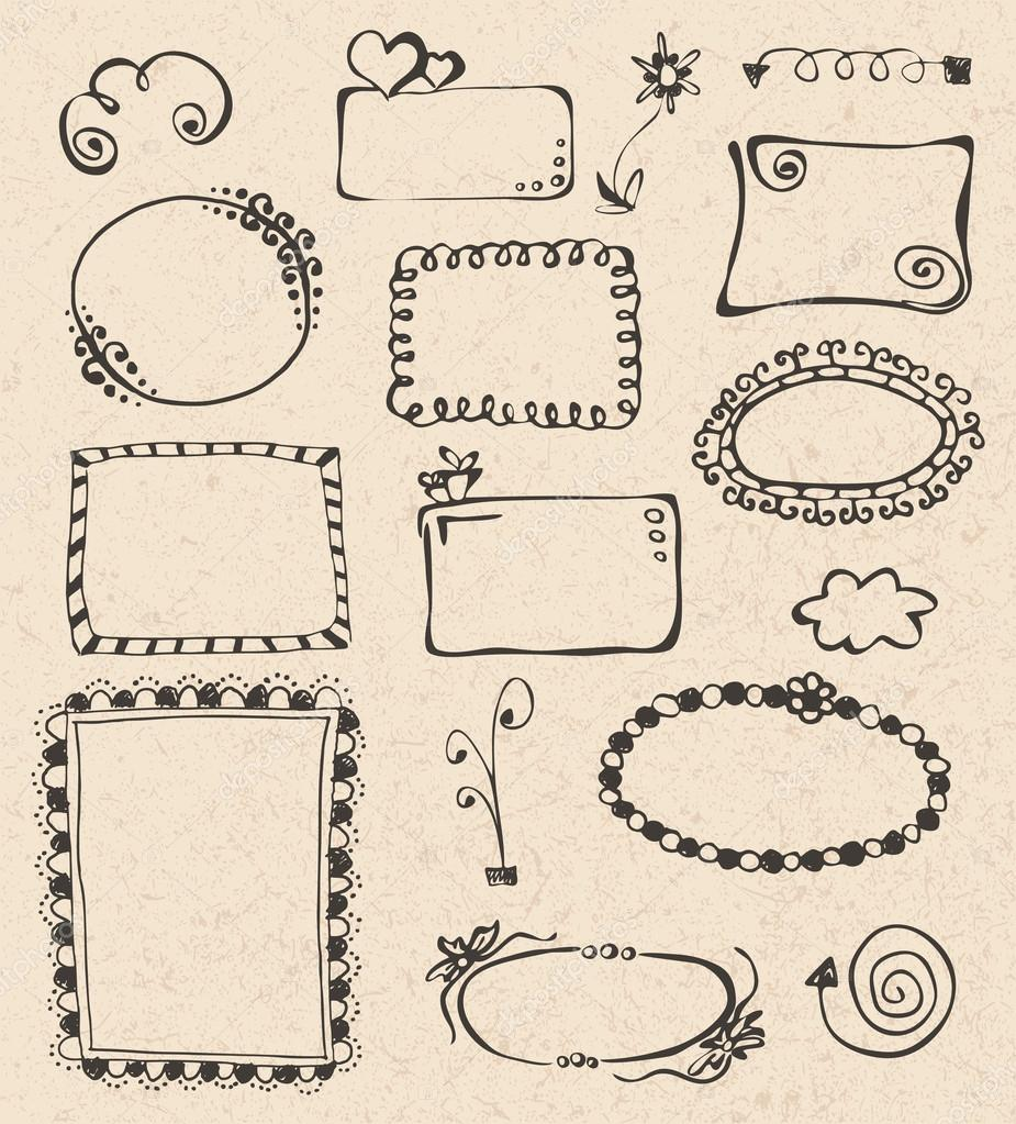 Frames and design elements collection hand drawn