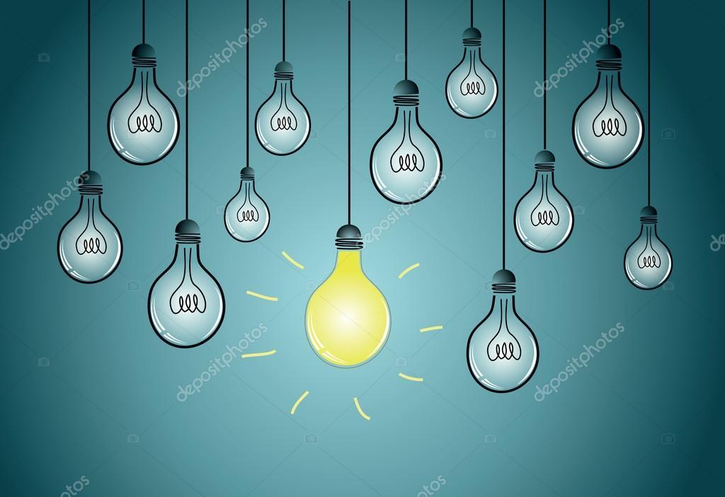 Light bulbs with single shining bulb