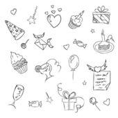 születésnapi kézzel rajzolt vázlat ikonok, fehér