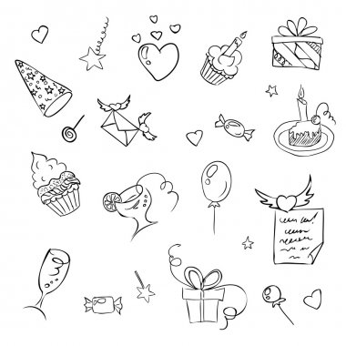 birthday hand drawn sketch icons on white