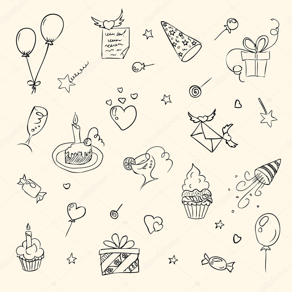 Birthday hand drawn sketch icons