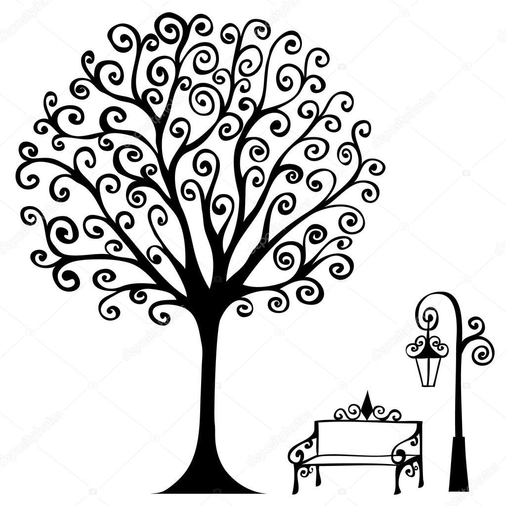 swirl hand drawn tree bench and lamp for your design