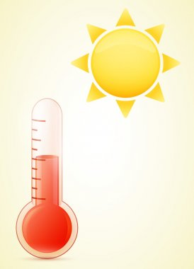 Thermometer with sun. hot weather illustration. transparent glass. eps10 clip art vector